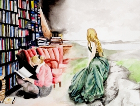 "Watercolor- ""When We Read"""