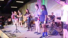 Here's us leading worship at a teen summer camp.