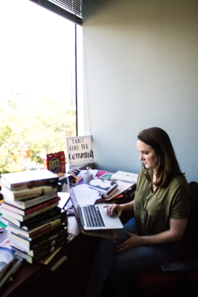 Paige Skinner, an editor at the Dallas Observer, sits at her desk on Friday afternoon September 3, answering emails.